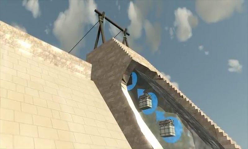 piramit taşlarının yukarı dikey hareketi