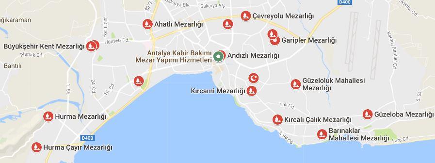 Antalya Mezarlıklar Listesi