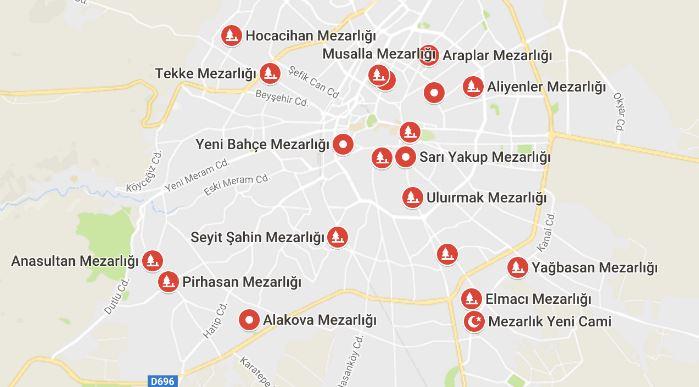 Konya Mezarlıkları Listesi