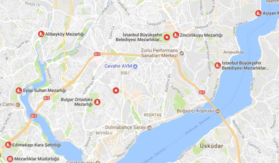 İstanbul Avrupa Yakası Mezarlık Listesi